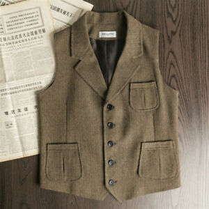 Mens-Wool-Tweed-Waistcoat-Herringbone-Vest-Retro-Lapel-Gilet-Suit-Formal-Tops