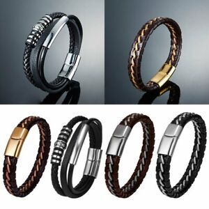 Men-039-s-Simple-Jewelry-Bracelet-Concise-Braided-Leather-Bangle-Black-Brown-Color