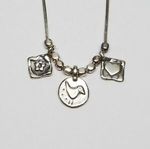 Silpada-Sterling-Silver-3-Charm-Necklace-Flower-Bird-amp-Heart-N1587-Retired-15-034