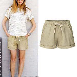 99956ba4cc1 Summer Beach Women s Loose Shorts Drawstring Waist Trousers Hot ...
