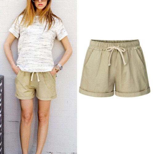 Womens Ladies Elastic Waist Drawstring Beach Loose Shorts Hot Pants Plus Size