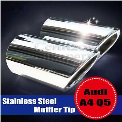 Stainless Steel TAIL REAR Exhaust Muffler Tip Pipes For 09-12 Audi A4 A4L Q5 B8
