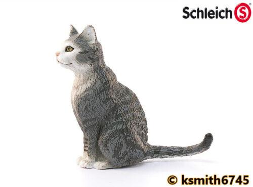 Schleich GREY SITTING CAT solid plastic toy PET farm animal predator NEW *