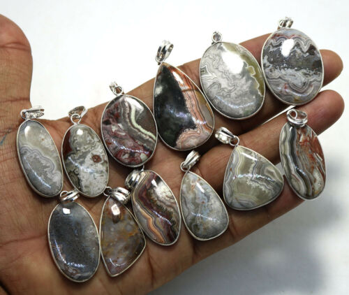 25 PCs Natural Red Crazy Lace Agate Gemstone .925 Silver Plated Bezel Pendants