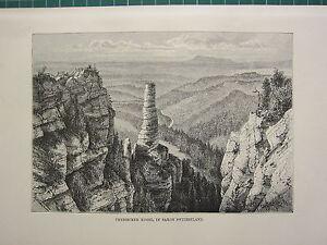 C1890 Antico Stampa ~ Prebischer Kogel Saxon Svizzera