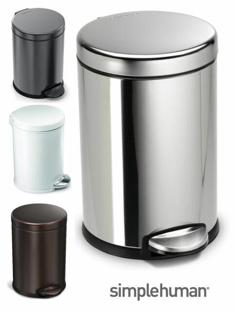 Simplehuman Stainless Steel Pedal Waste Bin Liner Pocket 45L or 55L Silver Black