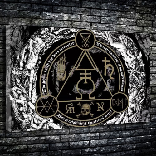 Demonic Signs Torment Gothic Horror Printed Canvas Picture Multiple Sizes
