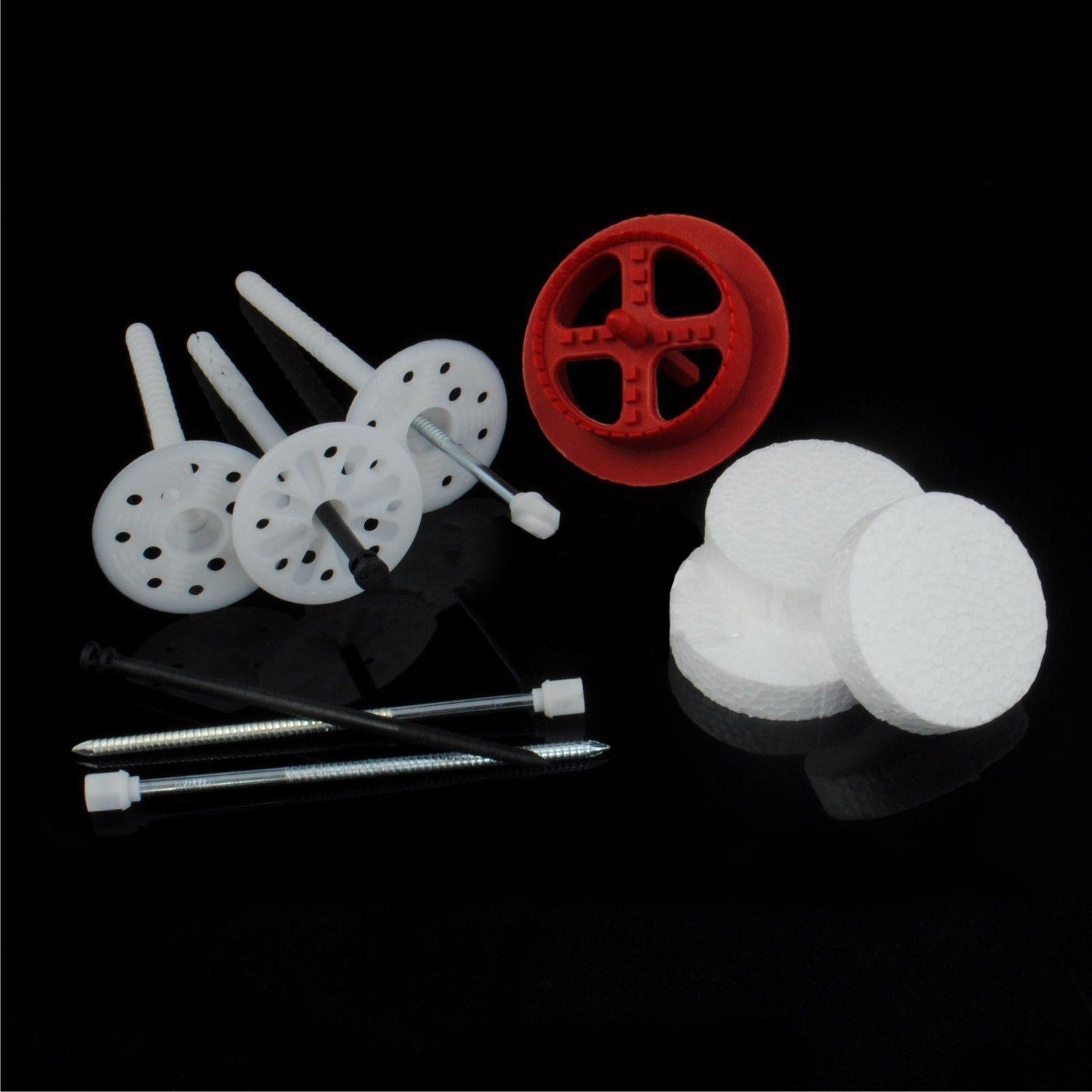 SET  Tellerdübel + Rondelle Styropor + 1 Fräse Dübelteller Kunststoff Stahlnagel