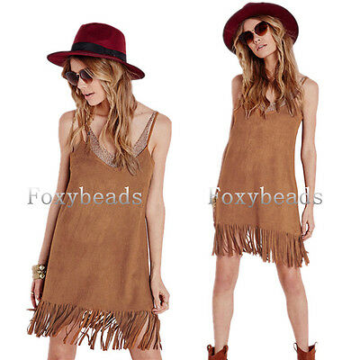 Sexy Women Deep V Neck Faux Suede Loose Party Tassels Strap Casual Mini Dress