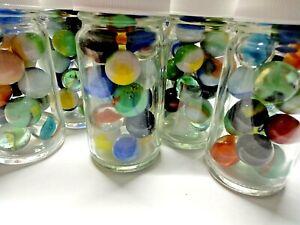 Vintage Marbles In Glass Jar Akro Agate, Peltier, Jabo, Vitro, Marble King, More