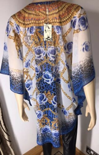 Kaftan Crystals Chain Print Leopard Floral Print Crystals Blue Tie Floaty NEW