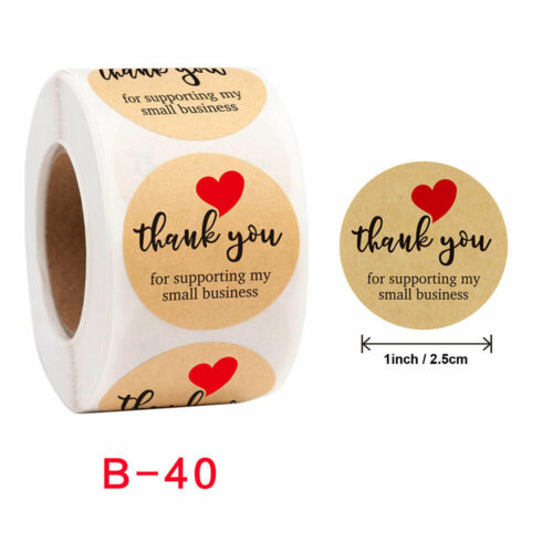 Thank You Stickers Love Round Labels Sealed Paper Adhesive DIY Handmade 500pcs