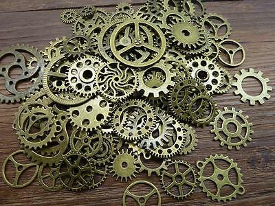 50pcs / 100pcs Steampunk Gears Cogs Discs for Assemblage Altered Art Mixed Media