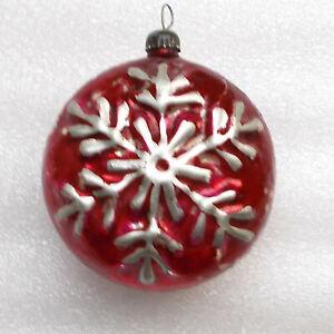 Old-Antiker-Russen-Christbaumschmuck-Glas-Weihnachtsschmuck-Schneeflocke