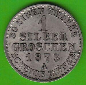 Prussia 1 Silver Pennies 1873 A IN Xf-Bu the Last Year nswleipzig