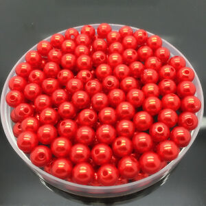 NEW-4mm-200Pcs-Red-Acrylic-Round-Pearl-Spacer-Loose-Beads-Jewelry-Making
