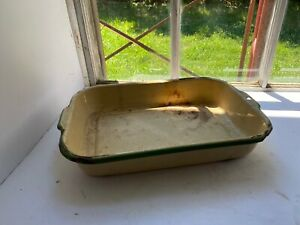 Vintage-Yellow-amp-Green-Enamelware-Porcelain-Baking-Cooking-Rectangular-Pan