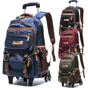 Details About Boy Kid 2 6 Wheels Rolling Backpack Schoolbag Luggage Trolley Book Bag New