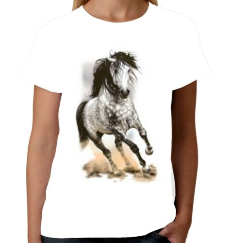 Velocitee Ladies T-Shirt Dapple Grey Horse Pony Fashion Super Cool Equine A6576
