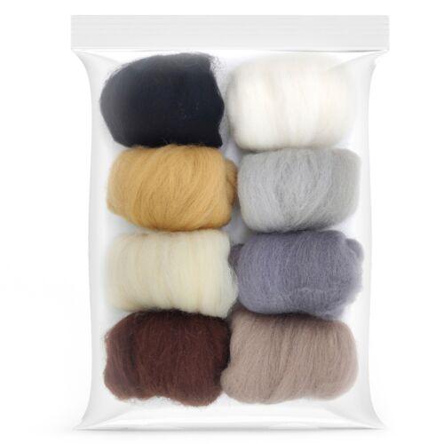 8 Pack Needle Felting Wool Roving 10g x 8 Colors 80g Merino Wool 19 Microns B