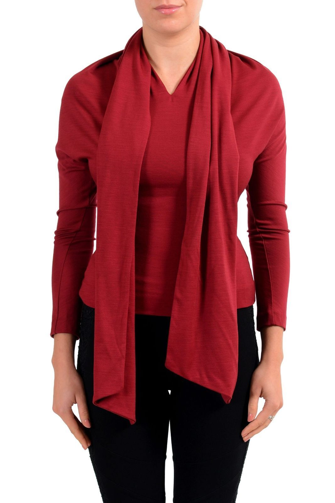 Dsquared2 Women'S 100% Wool Burgundy Scarf Designed Top US S IT 40