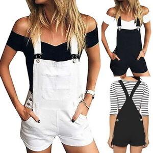 33740fffc232 Image is loading Fashion-Womens-Girls-Denim-Overalls-Shorts-Jumpsuit-Romper-
