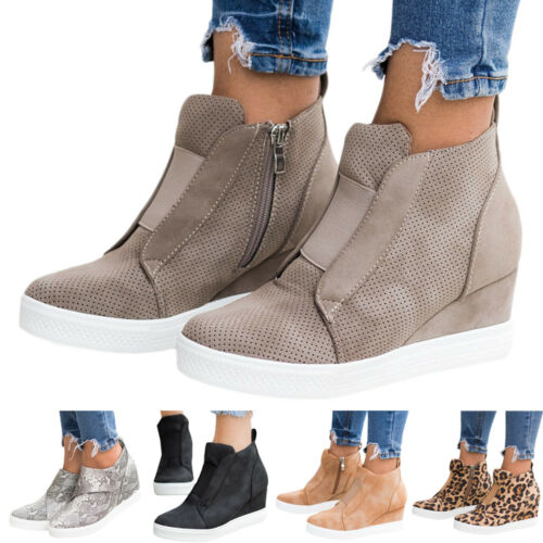 Damen Keilabsatz Wedges Halbschuhe Freizeit Turnschuhe Sneakers Loafers Schuhe