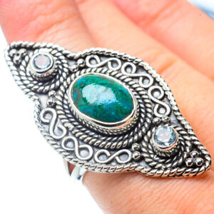 Gigantic-Chrysocolla-Blue-Topaz-925-Sterling-Silver-Ring-Size-8-Jewelry-R31028F