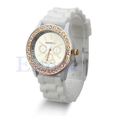 Ladies Girls Geneva Golden Crystal Stone Women Jelly Silicone Quartz Wrist Watch