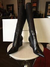 Balenciaga 39 Black Stretch Leather Wedge Boots - NIB Runway 2014