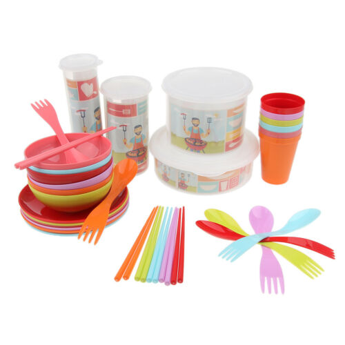 34pcs Picnic Camping Plastic Bowls Plates Tumblers Cutlery with Storage Case