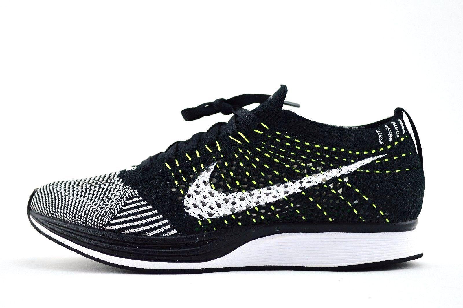 2018 Nike Flyknit Racer OG SZ 14 Black White Oreo Volt Multicolor 526628-011