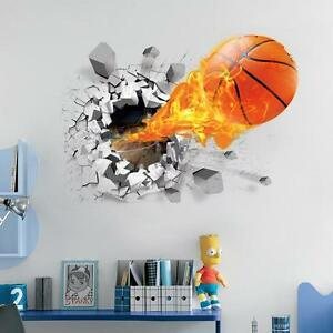 Image Is Loading Removable 3D Basketball Wall Sticker Kids Room Decal