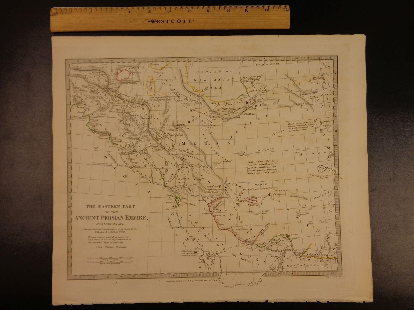 1844 Superbe Énorme Couleur L'Est Carte de de L'Est Couleur Ancien Perse Arabie Assyria Atlas 22914c