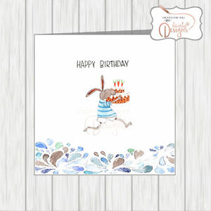 Image Is Loading Birthday Card Quirky Comical Funny Rabbit Running Carrying