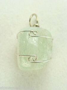 .8/21mm Aquamarine sterling silver wire wrapped Pendant