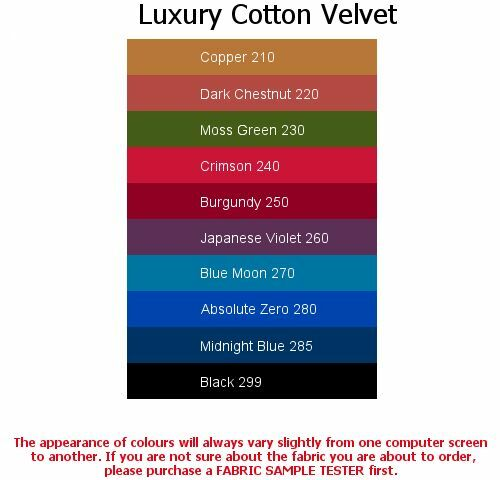 100/% Cotton Black Velvet, 4x5cm sample colour testers /& per metre purchasing