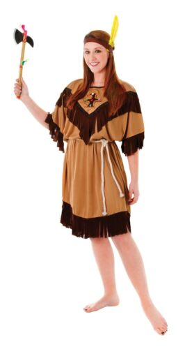 Ladies Brown Native Indian Lady Squaw Wild West Fancy Dress Size 10-14