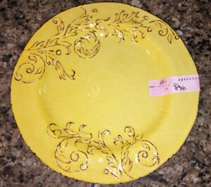 Image is loading Aphorism-Yellow-Rustic-Floral-Scroll-Melamine-Dinner-Plates - & Aphorism Yellow Rustic Floral Scroll Melamine Dinner Plates Set of 4 ...