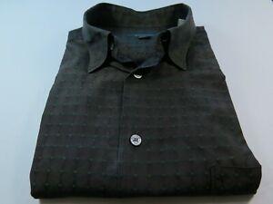 Ermenegildo-Zegna-Long-Sleeve-Cotton-Brown-Geometric-Italian-Casual-Shirt-1XB-XL