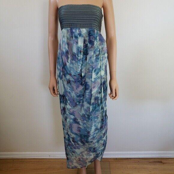 Elizabeth and James Strapless Silk Maxi Dress S
