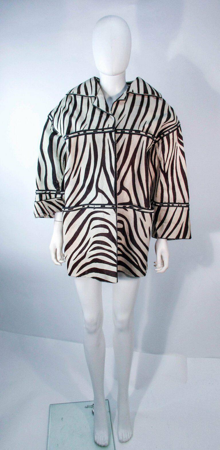 AMEN WARDY Zebra Pattern Cowhide Coat Size 4-8 - image 2