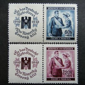 Germany Nazi 1940 Stamps MINT Nurse & Wounded Soldier Red Cross Swastika Eagle B