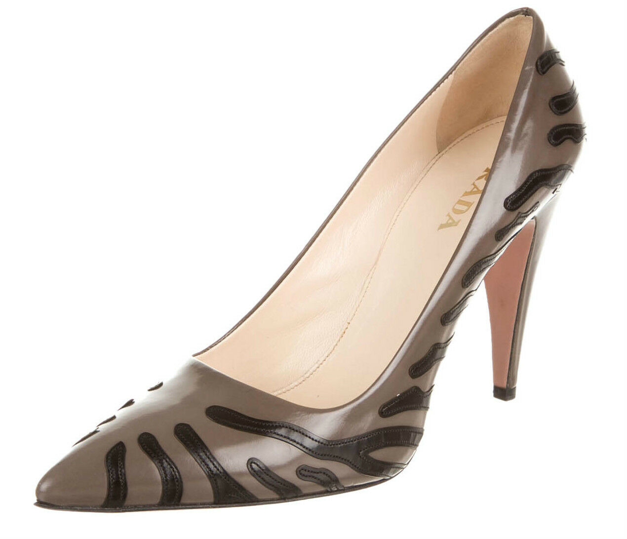 PRADA Grey Animal Print Leather Heel SZ 36 = US 5.5-6 NWOB
