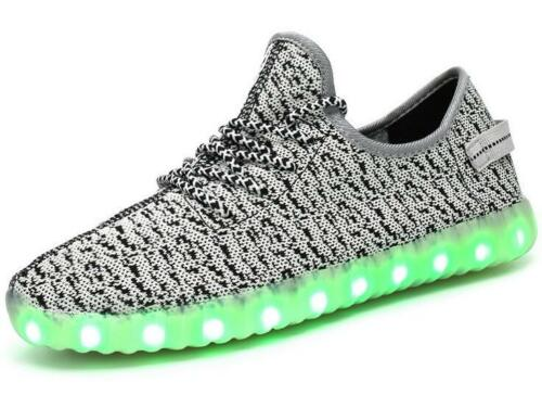 Unisexe Hommes Femmes DEL Light Up chaussures lumineux USB TRAINER Sneaker High Top shoes