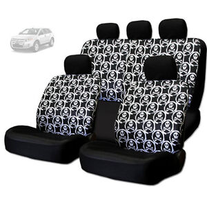 New Cool Skull Design Front And Rear Car Seat Covers Set