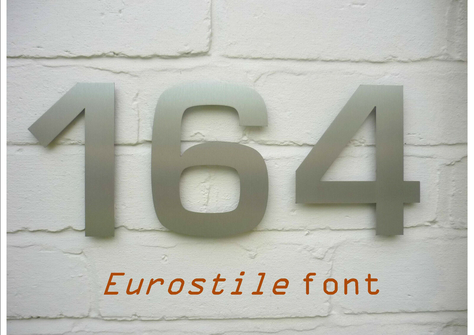 3 digit contemporary stainless steel House Numbers - 15cm 6  FREE UK DELIVERY