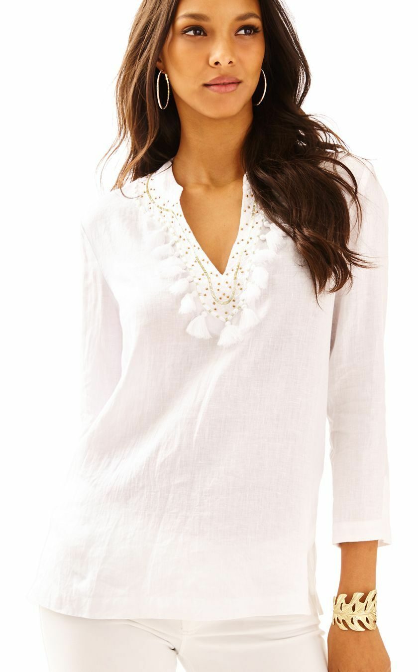 New Lilly Pulitzer Amelia Island Tunic Blouse Top Resort Weiß Embroiderot M