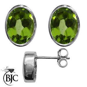 BJC-9kt-Oro-Bianco-Naturale-Peridoto-Ovale-Orecchini-A-Perno-3-00-ct-Borchie