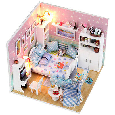 Kits dream DIY Wood Dollhouse miniature with Furniture Dolls house Gift M003